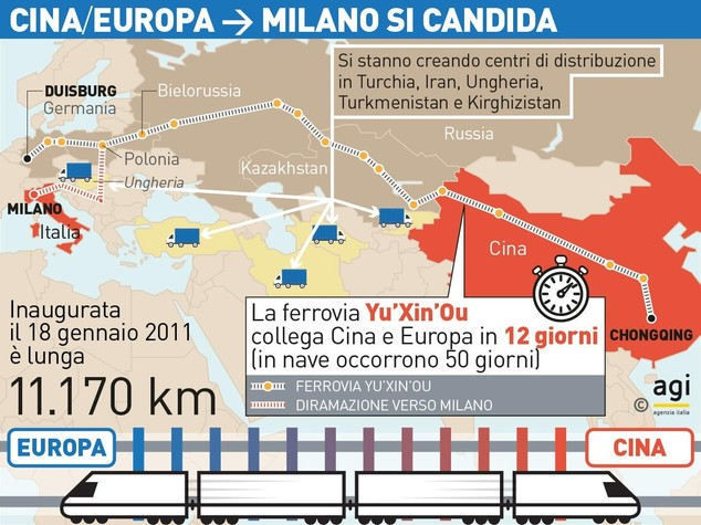 Infografica - Linea ferroviaria Chongqing-Duisburg